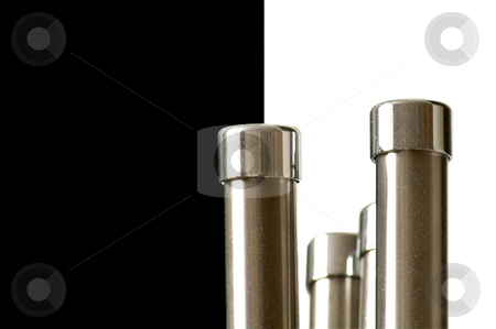 Stainless steal rods on black and white background stock photo, Black & White abstract with steanless steal by Claudia Van Dijk