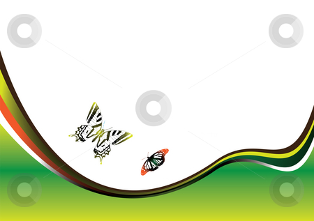 Butterfly field stock photo, Abstract nature inspired illustrated background with two butterflies by Michael Travers