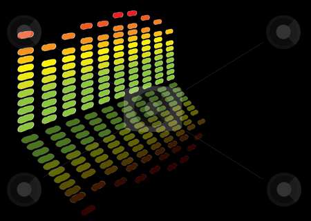Rainbow equaliser stock photo, Graphic equaliser in rainbow colours with room to add your own text by Michael Travers