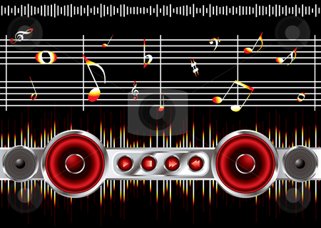 Music note clean stock photo, Musical inspired background black image with music notes by Michael Travers
