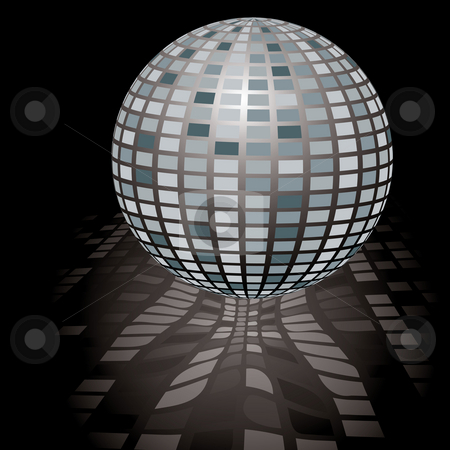 Disco ball stock photo, Illustration of a seventies style disco ball with reflection by Michael Travers