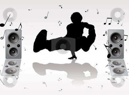 Dance music stock photo, Dance music pose with two speakers and musical notes by Michael Travers