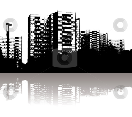City skyline stock photo, Illustration of a city skyline with reflection in black and white by Michael Travers
