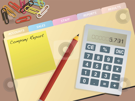 Business accounts stock photo, A typical illustration of an accounts desktop with files and calculator by Michael Travers