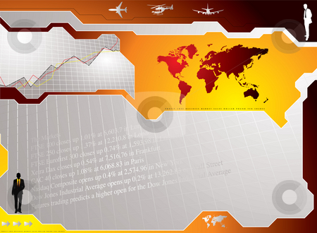 Business concept stock photo, Business concept background showing graphs and stock markets results by Michael Travers