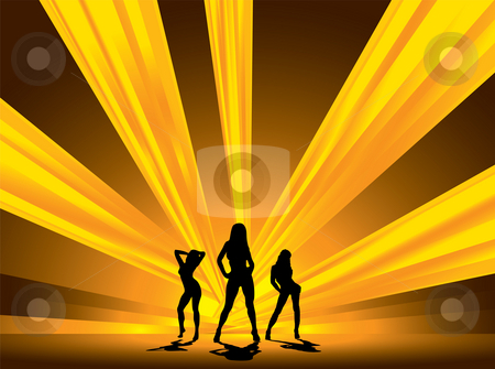 Blinding dancers stock photo, Three female dancers set against a blinding array of light by Michael Travers