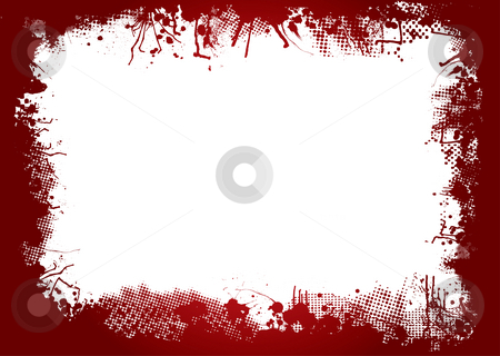 Blood border stock photo, Dirty ink and halftone border in blood red by Michael Travers