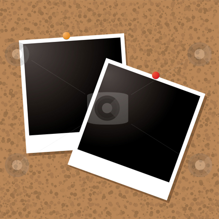 Picture post stock photo, Illustrated old style image pined to a cork board by Michael Travers