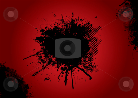Blood halftone stock photo, Dirty ink and halftone background with copy space by Michael Travers