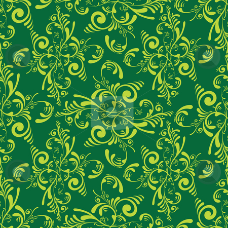 Floral green tile stock photo, Floral inspired tile wallpaper design that seamless repeats by Michael Travers