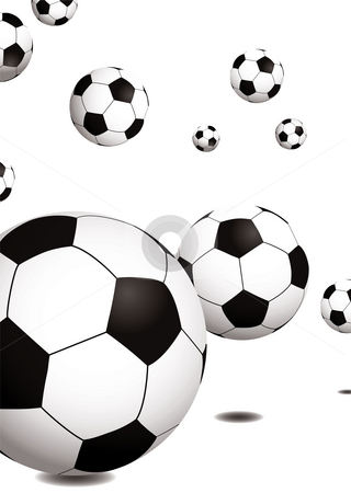 Football bounce stock photo, Collection of footballs bouncing on a plain white background by Michael Travers