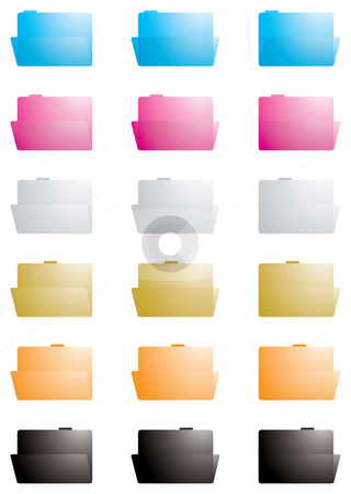Folder transparent stock photo, Collection of folders in varies colors at different angles by Michael Travers