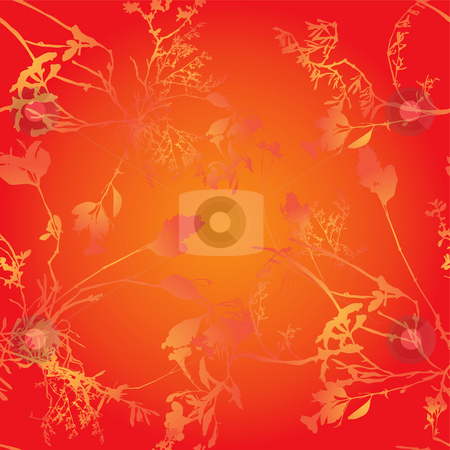 Golden floral tile stock photo, Abstract background floral tile design in orange and red by Michael Travers