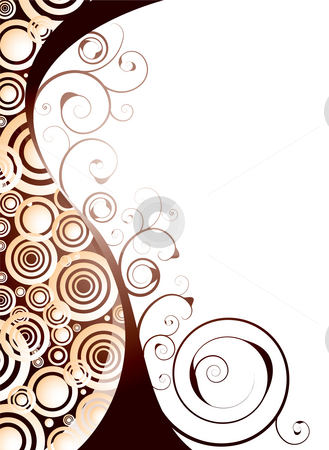 Floral space stock photo, Illustrated floral abstract desiged background in orange and red by Michael Travers