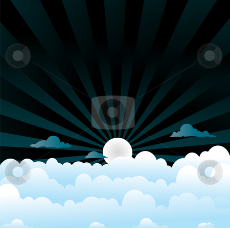 Fluffy clouds night stock photo, A sky night scene with blue fluffy clouds by Michael Travers