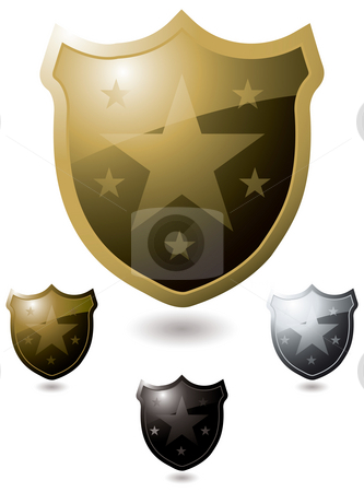 Star shield stock photo, Collection of four shield in gold and silver with shadow by Michael Travers