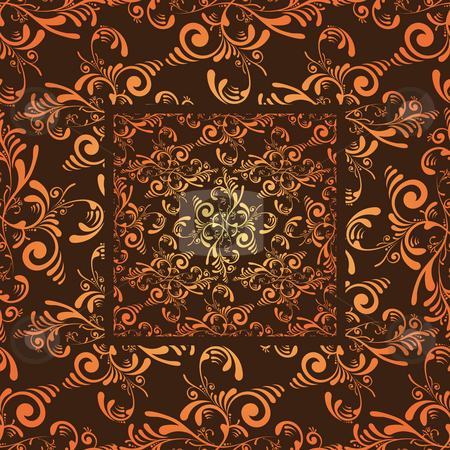 Orange cutout tile stock photo, Grunge floral seamless wallpaper design in orange and maroon by Michael Travers