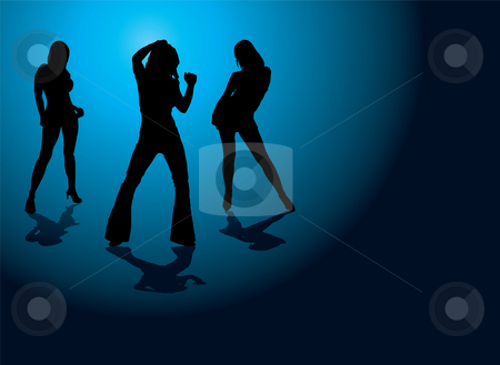 Sexy strut stock photo, Sexy illustration of three dancing women on a blue and black background by Michael Travers