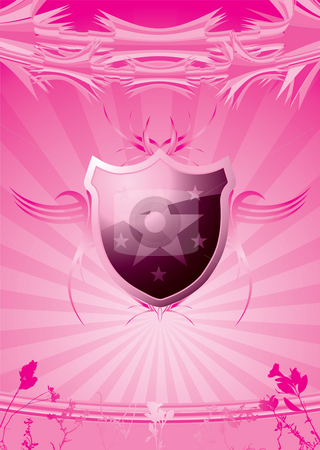 Subtle shield pink stock photo, Subtle pink and white background with a shield by Michael Travers