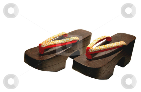 Wooden shoes stock photo, Japanese wooden shoes for under a kimono by Claudia Van Dijk