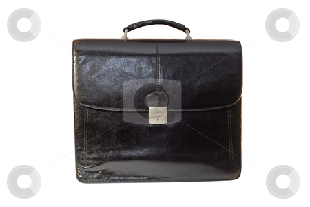 Black business bag stock photo, Black leather business bag isolated on a white background by Claudia Van Dijk