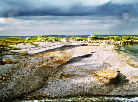 Sea coast stock photo, Sea coast storm clouds weather blue algae by Adrian Costea