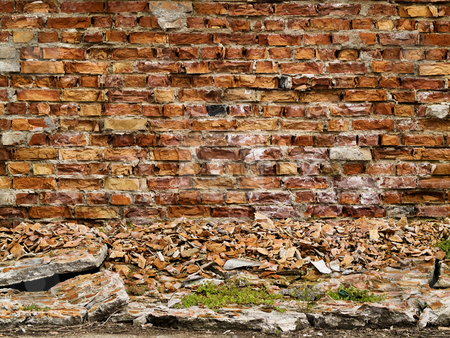 Wall pattern stock photo, Wall pattern texture construction brown brick splint by Adrian Costea
