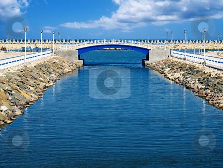 Bridge view stock photo, Wooden bridge view to the sea bay by Adrian Costea