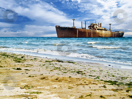Shipwreck stock photo, Costinesti Constanta shipwreck in the sea picturesque by Adrian Costea