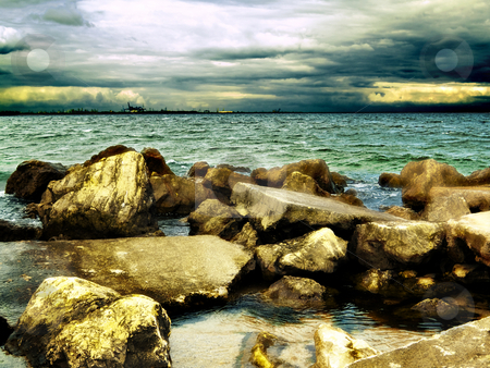 Sea coast stock photo, Sea coast storm clouds weather blue harbor by Adrian Costea