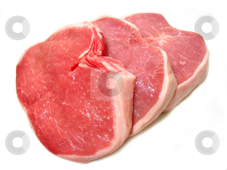 Pork chops stock photo, Raw pork chops isolated on white background by Elena Elisseeva