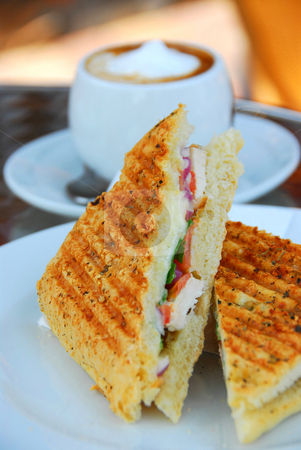 Grilled sandwich stock photo, Grilled chicken sandwich and a cup of coffee by Elena Elisseeva