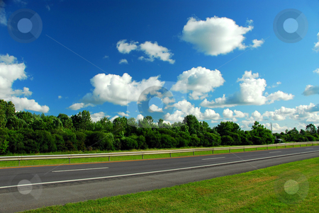 Road and blue sky stock photo, Road and blue summer sky by Elena Elisseeva