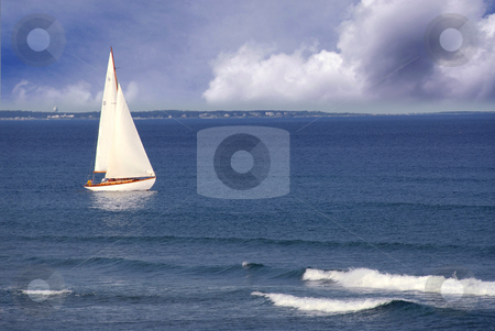 Sailboat stock photo, Sailboat in ocean by Elena Elisseeva