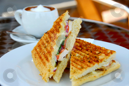 Sandwich and coffee stock photo, Sandwich and coffee lunch by Elena Elisseeva