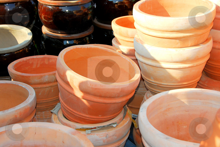 Clay pots stock photo, Clay pots for sale by Elena Elisseeva