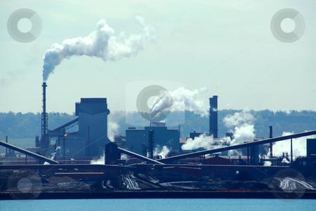 Industrial pollution stock photo, Steel mill industrial pollution by Elena Elisseeva
