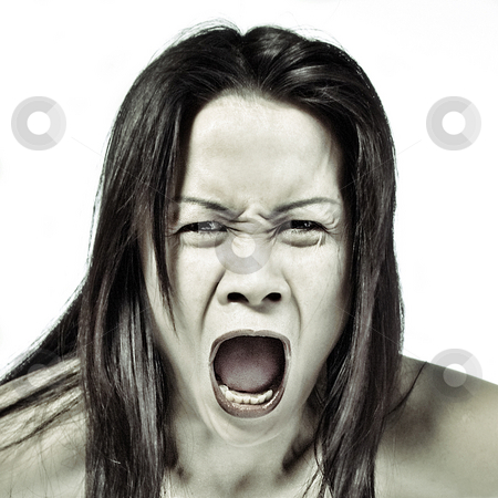 Asian woman screaming out loud stock photo, Studio portrait of a asian girl screaming by Frenk and Danielle Kaufmann