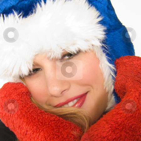 Christmas faerie in square frame stock photo, Portrait of a beautiful blond model with a Christmas hat by Frenk and Danielle Kaufmann