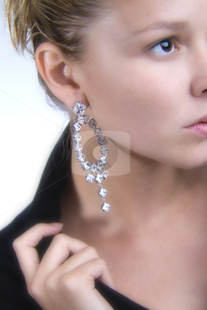 Lovely earring stock photo, A model portrait in the studio by Frenk and Danielle Kaufmann