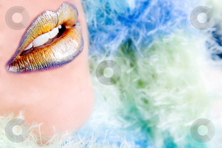 Color Lips stock photo, Close up of lips with several colors of lipstick by Frenk and Danielle Kaufmann