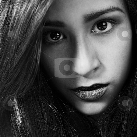 Extreme beauty in black and white stock photo, Studio portrait of a mixed race vietnamese girl being extremely beautiful by Frenk and Danielle Kaufmann