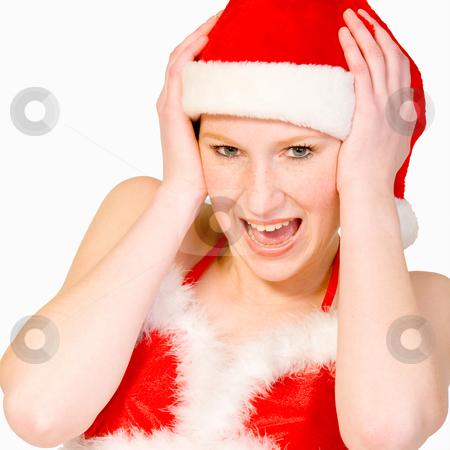 Beautiful christmas girl is screaming stock photo, Beautifull girl in christmas bikini and with christmas hat is screaming. by Frenk and Danielle Kaufmann
