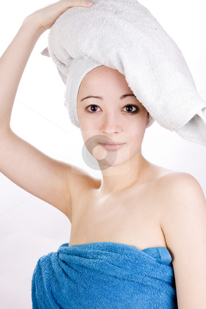 Wellness woman is looking stock photo, Young woman looking with a towel on her head by Frenk and Danielle Kaufmann