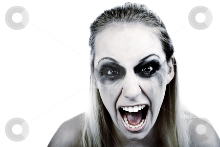 Studio portrait of a young blond woman in horror stock photo, Studio portrait of a young blond woman in horror by Frenk and Danielle Kaufmann