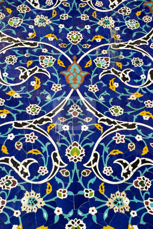 Mosaic of Flowers stock photo, Detail of a colorful mosaic designed with ceramic tiles depicting floral patterns by Stefan Breton