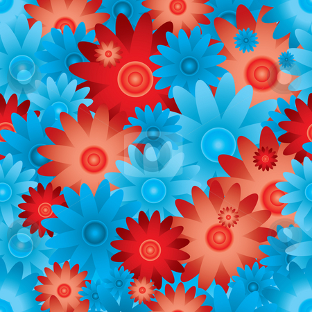 Floral repeat stock photo, Floral inspired red and blue seamless background with no join by Michael Travers