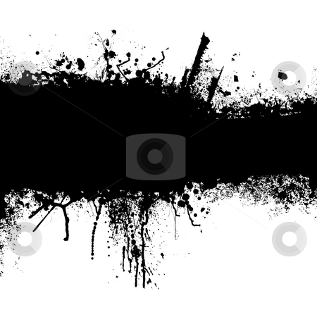 Grunge black strip stock photo, Grunge banner with an inky dribble strip with copy space by Michael Travers