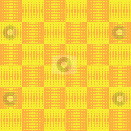 Halftone checked stock photo, Repeating seamless background design in orange and yellow by Michael Travers