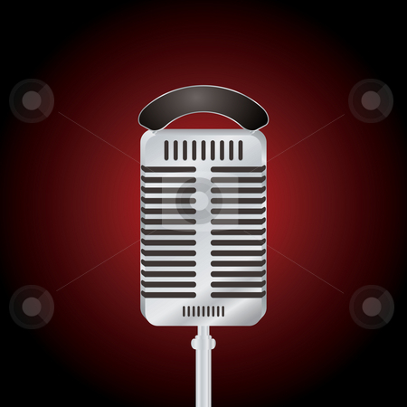 Microphone stock photo, Illustration of an old fashioned microphone in silver on a black background by Michael Travers